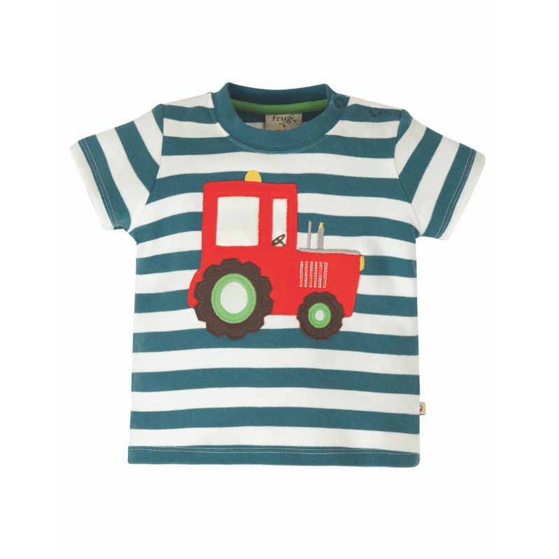 Frugi Little Wheel Applique Top - Steely Blue Stripe/Tractor