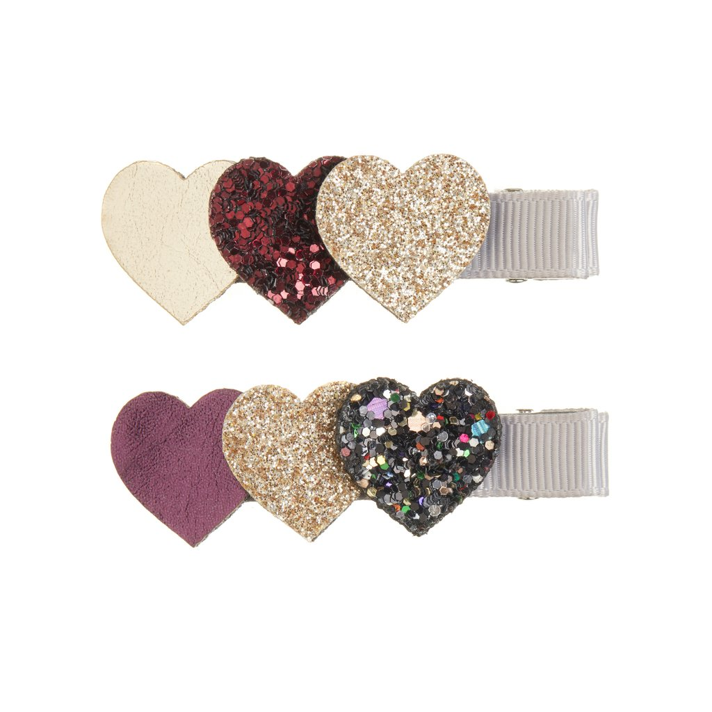 Mimi & Lula Heart Burst Clips-Red