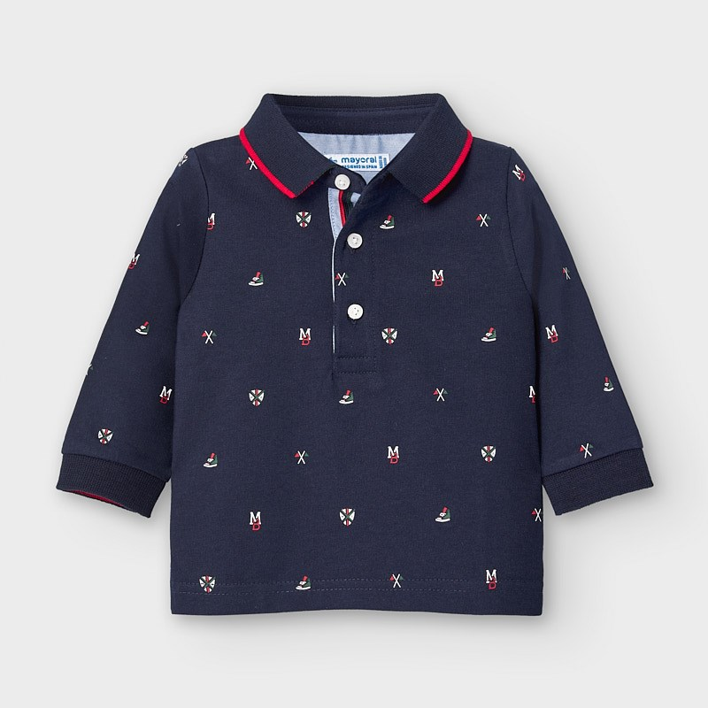 SALE £15.20 Mayoral patterned Polo Shirt-Navy (2124) (was £19)