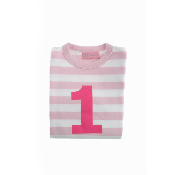 Bob & Blossom - Pink & White Striped Number T-shirt