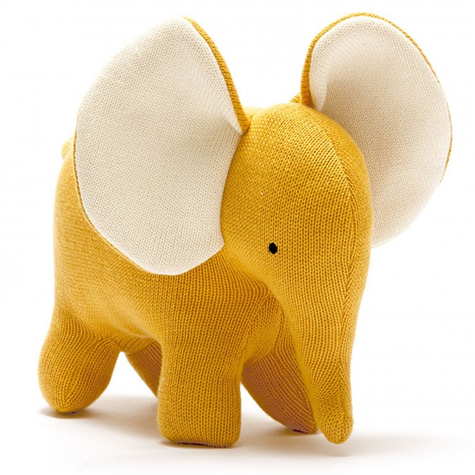 Best Years Organic Cotton Knitted Elephant - Mustard