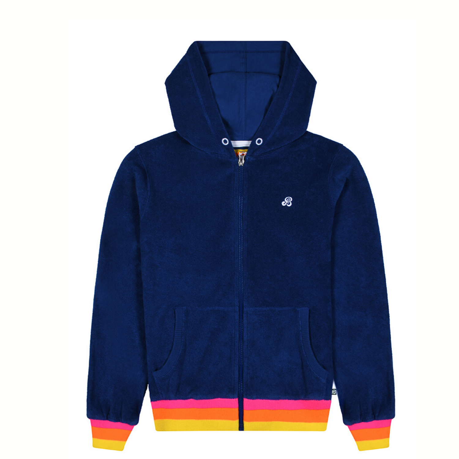 St Bert's Zip Up Terry Hoodie - Twilight Blue