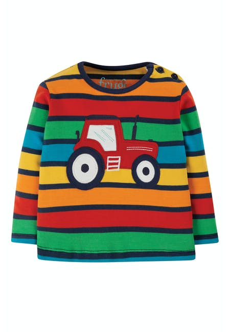SALE £16.80 Frugi Tractor Top-Rainbow Stripe (Was £21)