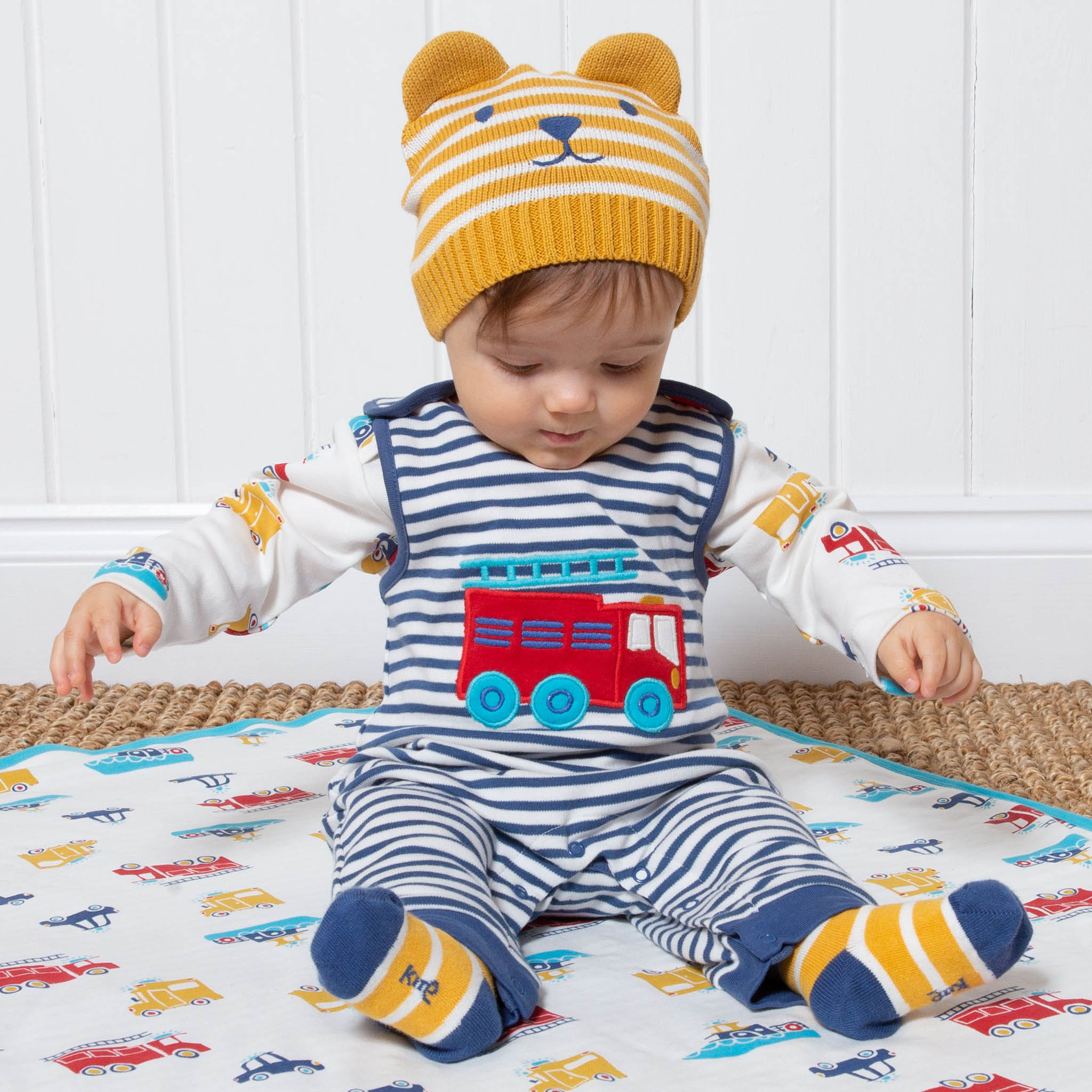 SALE £20.00 Kite Fire Engine Rescue Dungarees-Navy & Cream (was £25.00)