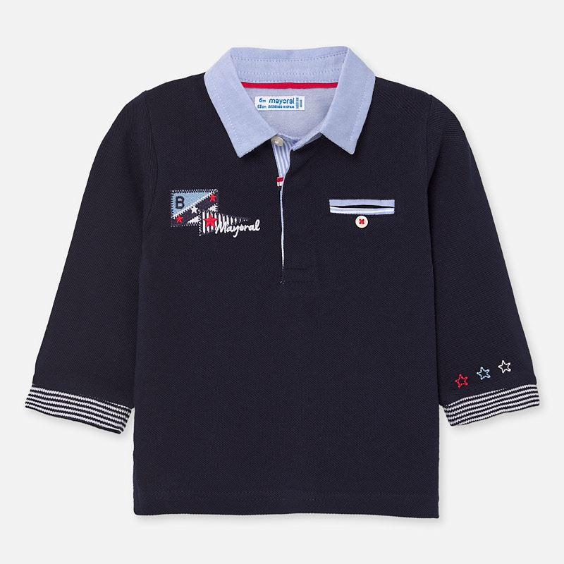 Mayoral Long Sleeved Polo Shirt Navy (1154)