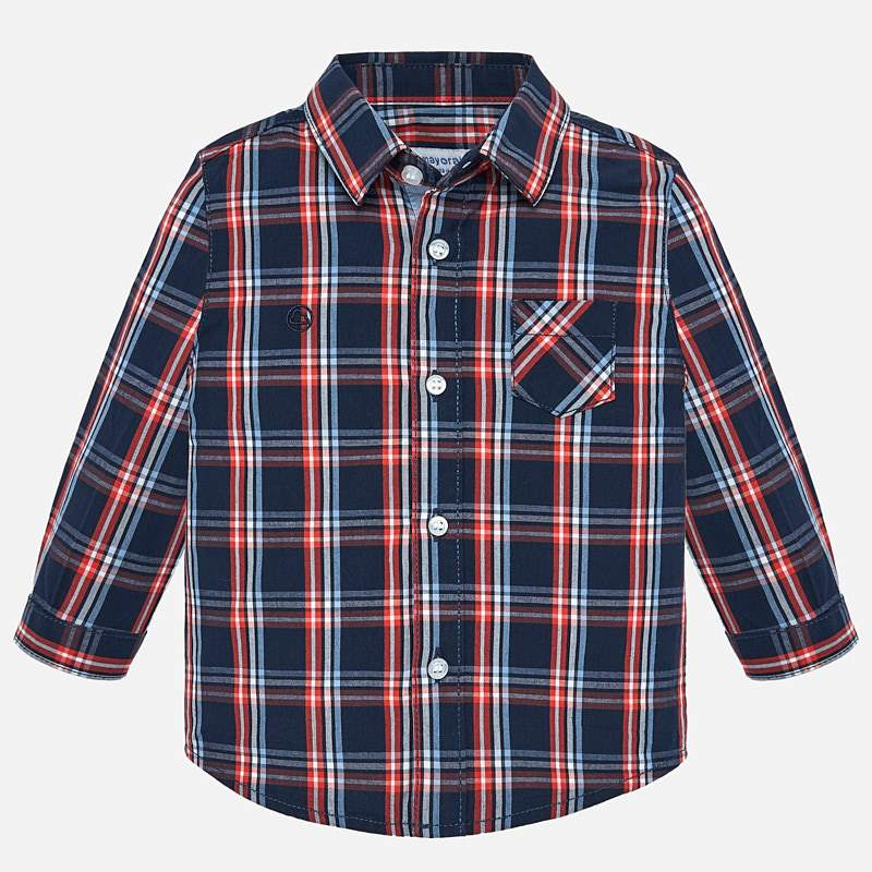WAS £18.50 Mayoral Check Shirt Orange/Navy (2112)