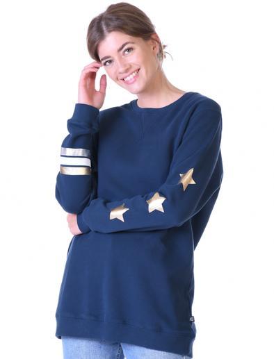 SALE £48 St Bert's Star & Stripe Sweatshirt- Dress Blue (was £60)