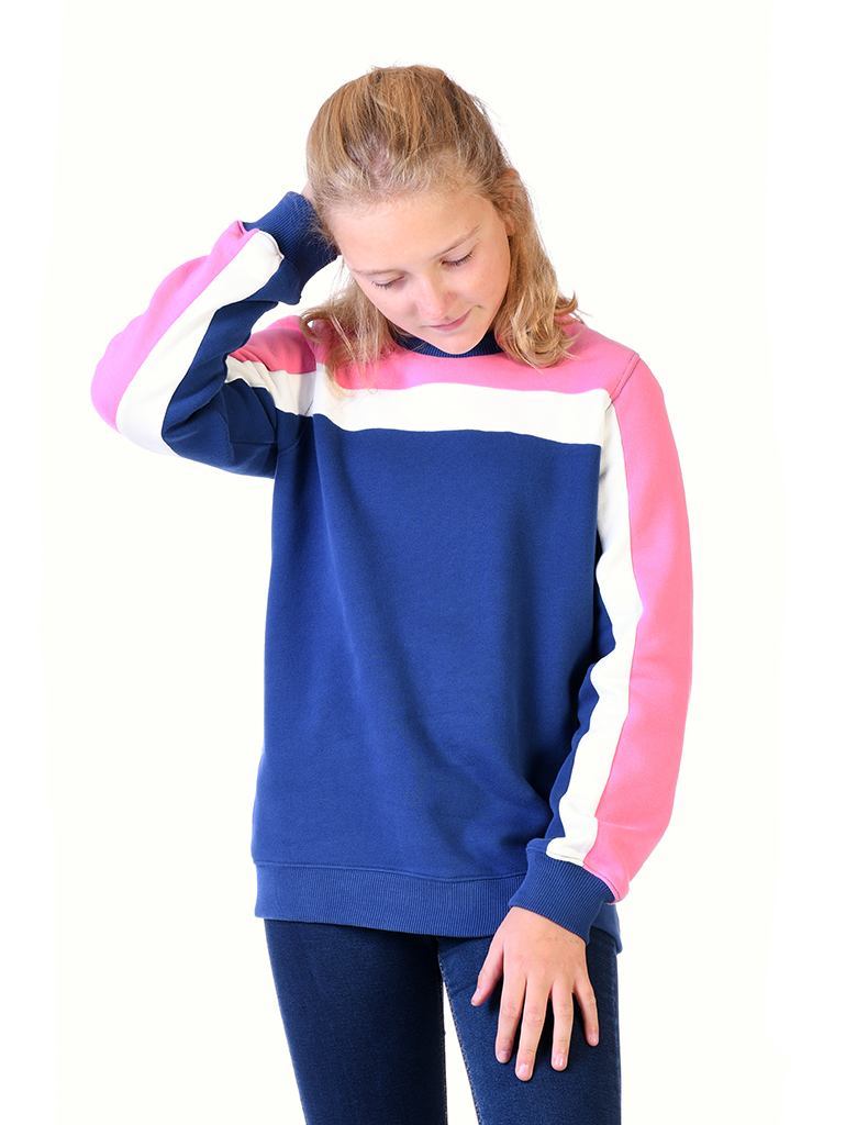 St Bert's Panel Sweatshirt- Twilight Blue/Sachet Pink