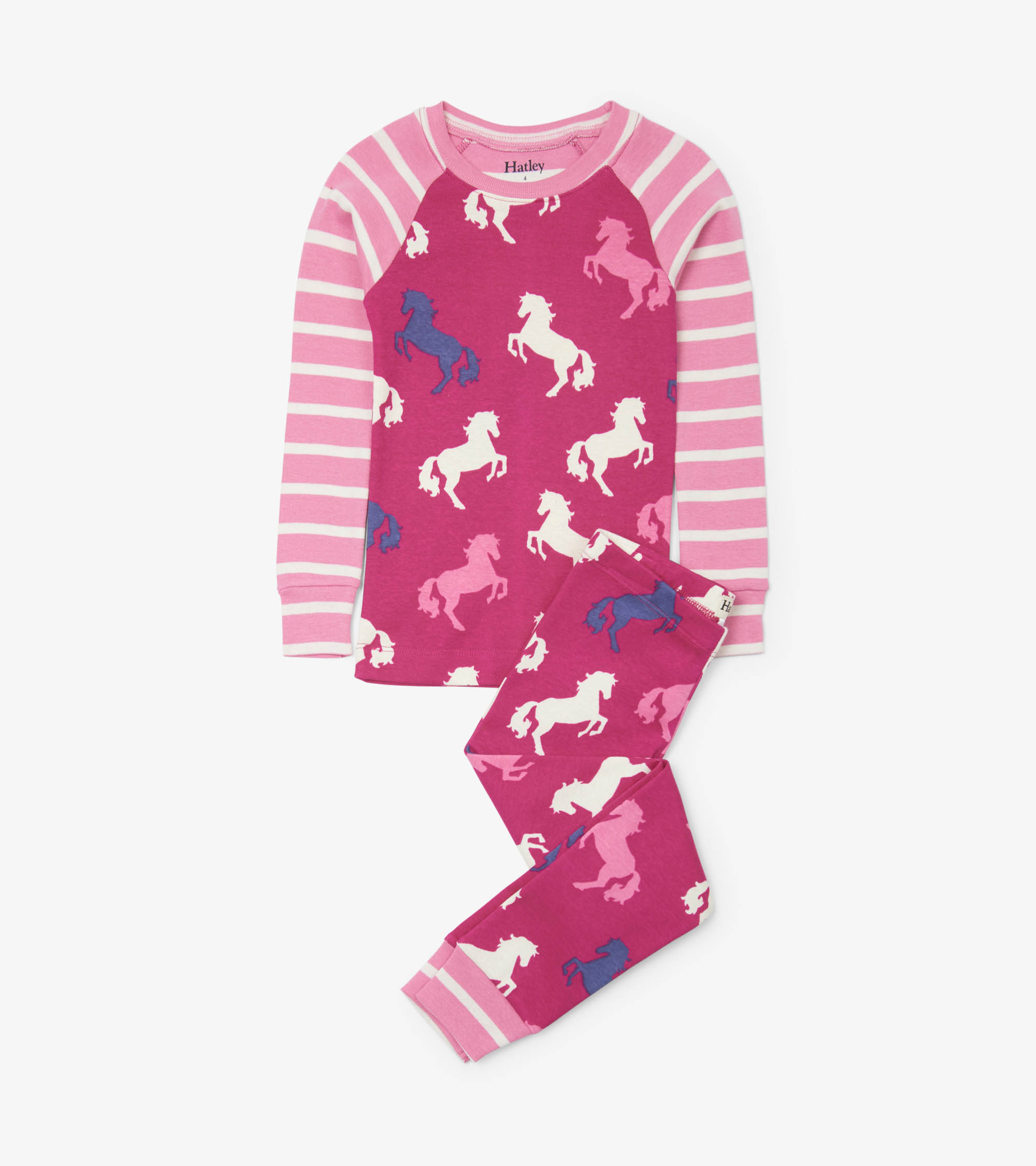 Hatley Playful Horses Organic Cotton Raglan Pyjama Set