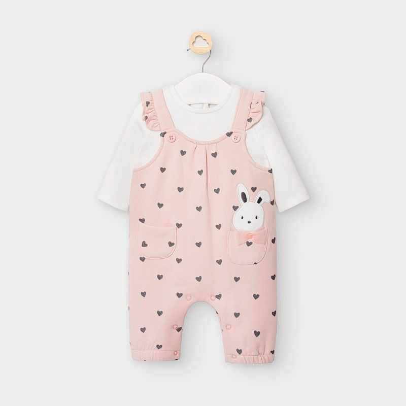 Mayoral Dungaree Babygrow - Dusty Pink (2644)