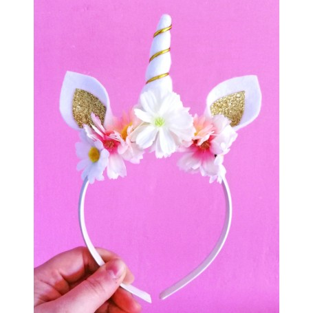 A is for Alice Pink & Gold Unicorn Horn Headband
