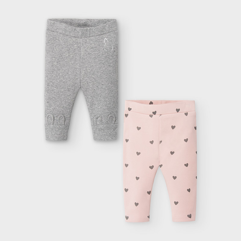 Mayoral Leggings 2 pack-grey/soft pink