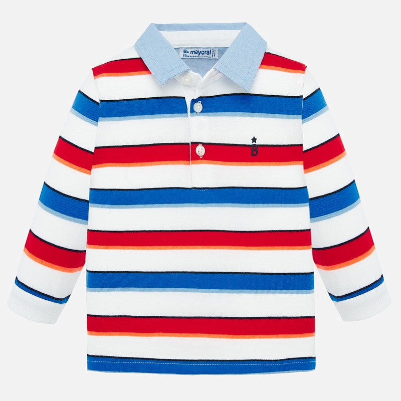 NOW £10 Mayoral Long Sleeve Stripes Polo Shirt Red (1155) (was £20)