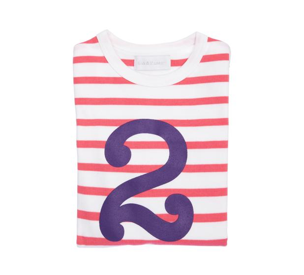 Bob & Blossom - Coral Pink & White Striped Number T-shirt