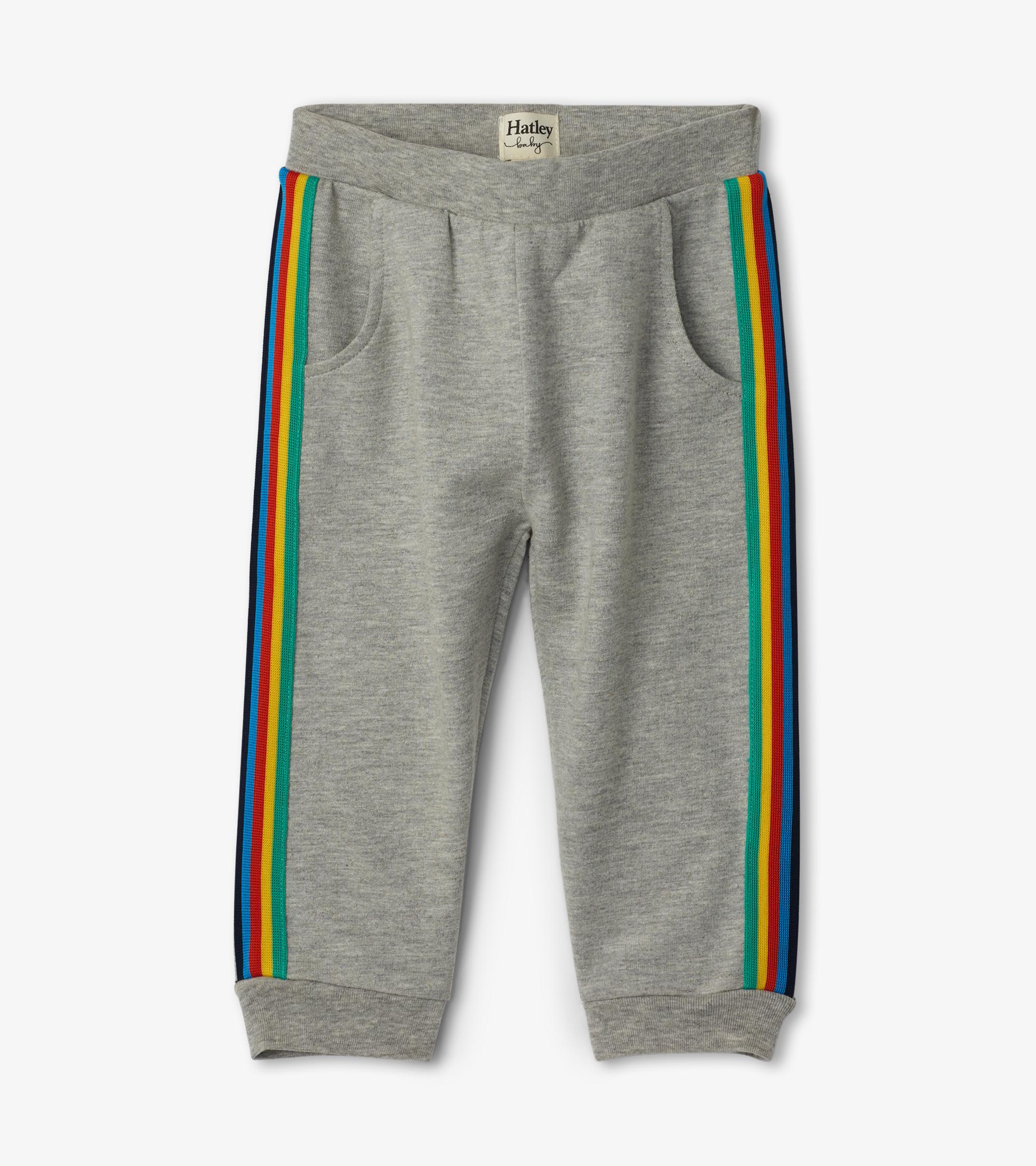 Hatley Retro Stripe Baby Joggers Grey