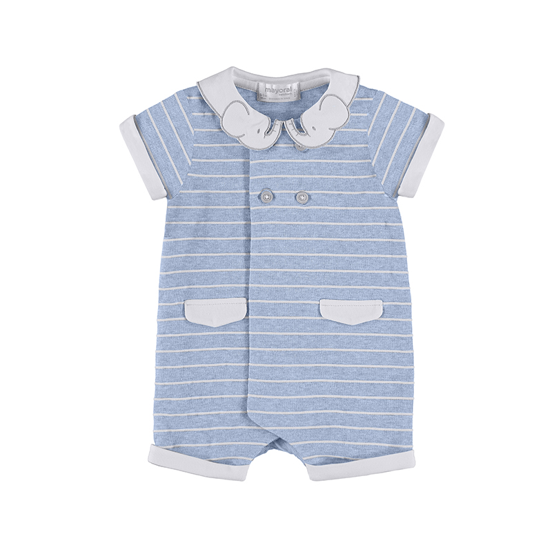 NOW £12 Mayoral Striped Elephant Romper Blue (1653)(was £25)