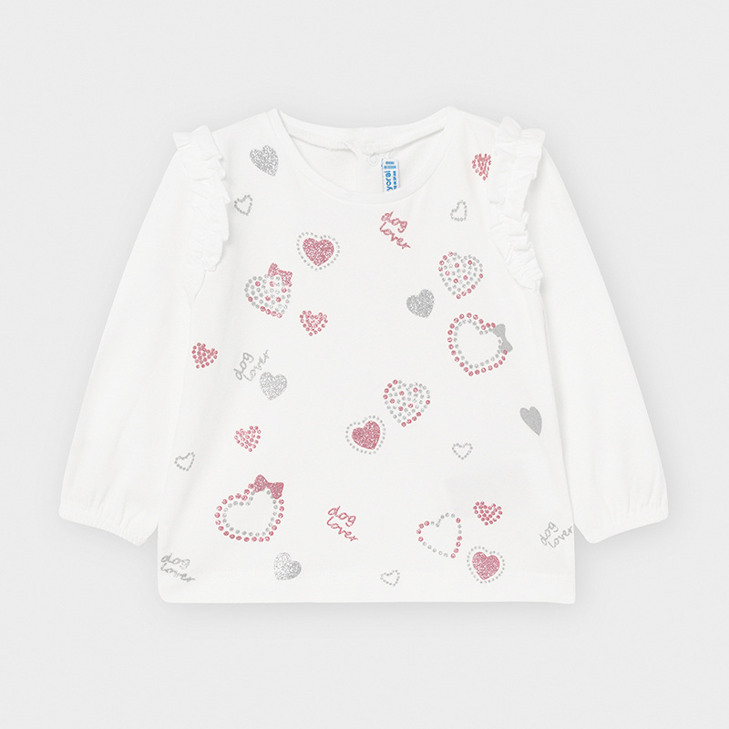 Mayoral Hearts Top-Off White & Pink (2056)