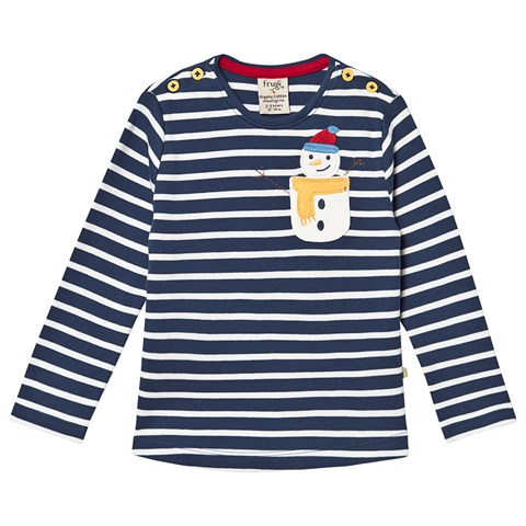 NOW £9 Frugi Louise Pocket Top, Space Blue Breton/Snowman (WAS £19)