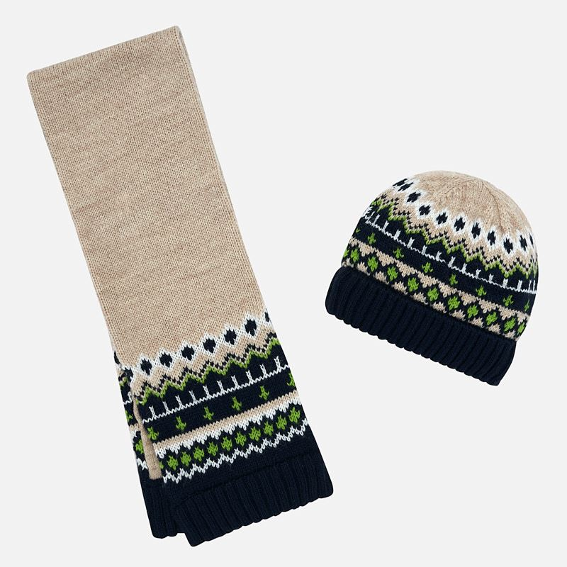 WAS £22.00 Mayoral Knitted Hat & Scarf Set Green (10642)