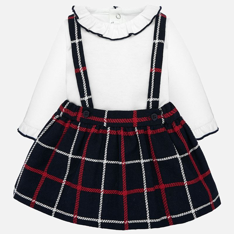 WAS £40.50 Mayoral Ruffle Collar Top & Plaid Skirt Set Navy (2835)