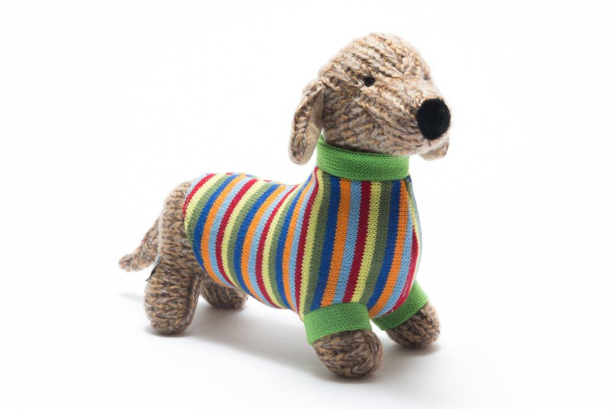 Best Years Knitted Sausage Dog Toy with Stripe Jumper
