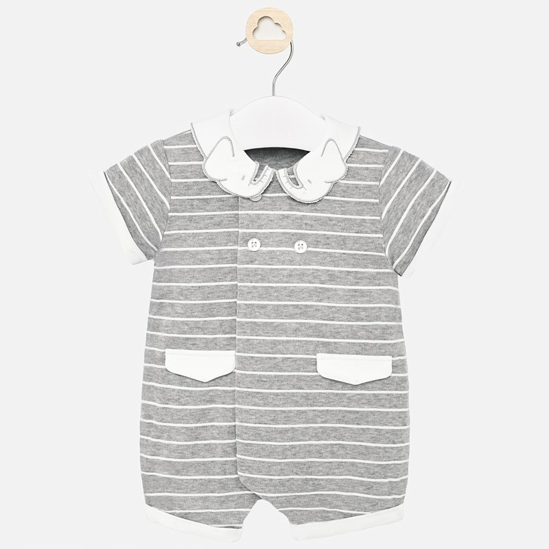Mayoral Striped Elephant Romper Grey (1653)