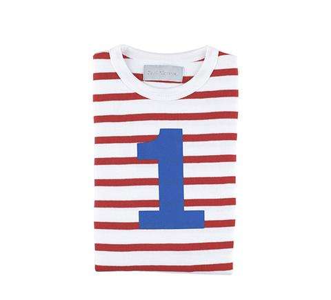 Bob & Blossom - Red & White Striped Number T-shirt