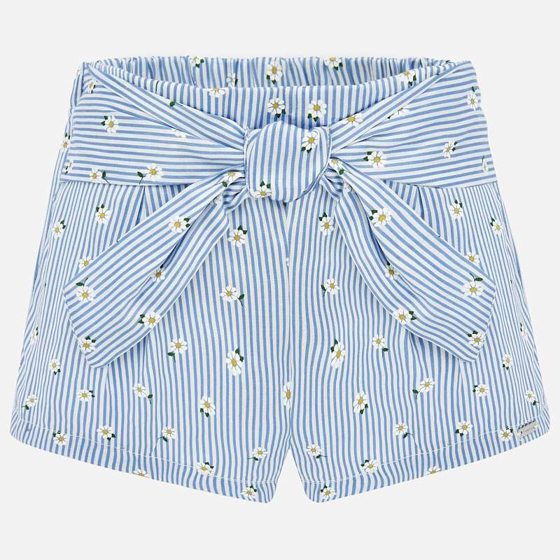 Mayoral Shorts Pale Blue stripe with flower Design (1202)