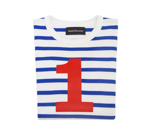 Bob & Blossom  - French Blue & White Striped Number T-shirt