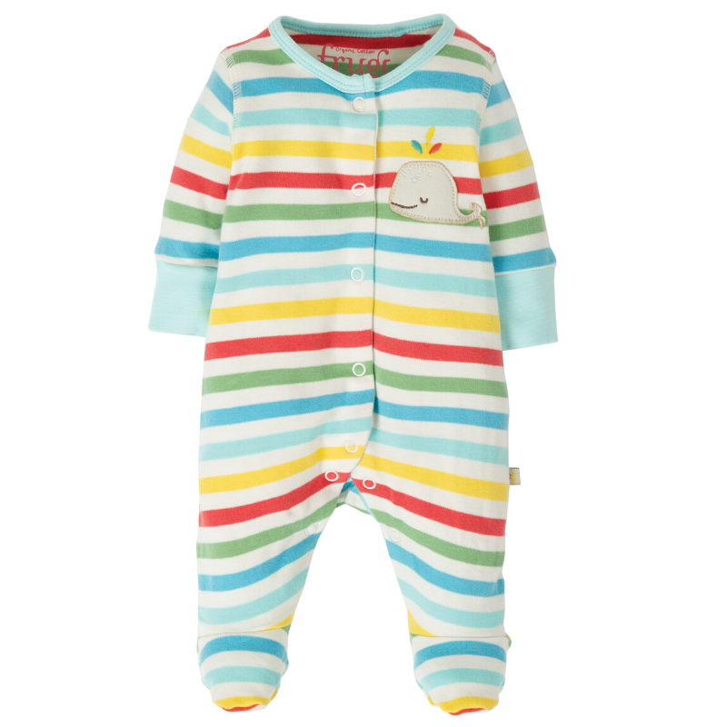 NOW £18.40 Frugi Little Applique Babygrow - My First Frugi Multistripe