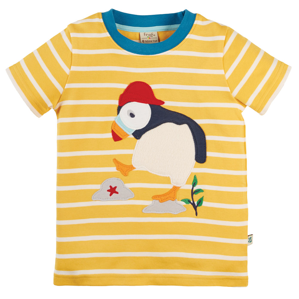 Frugi The National Trust Sid Applique T-Shirt-Puffin