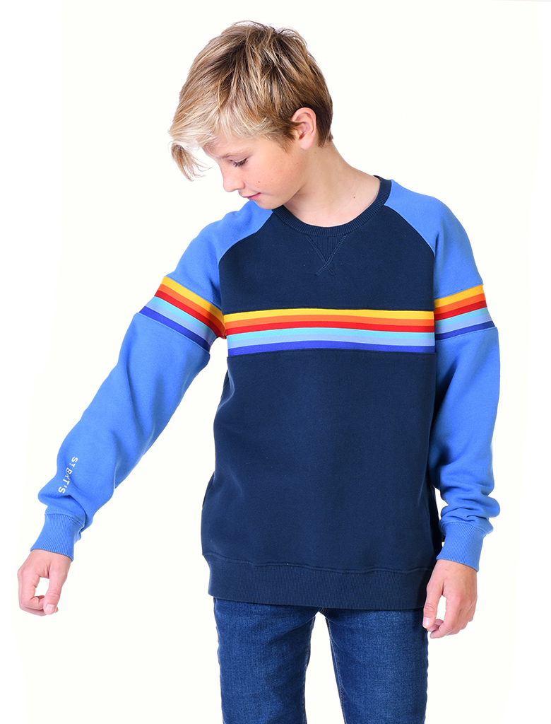 St Bert's Stripe Sweatshirt - Dress Blue / Marina Blue