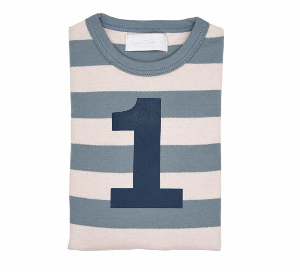 Bob & Blossom - Slate & Stone Striped Number T-shirts