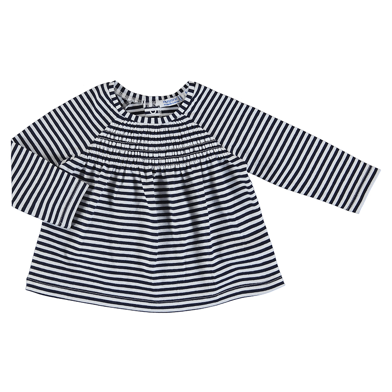 Mayoral Long Sleeved Striped Top-Navy/White 1090