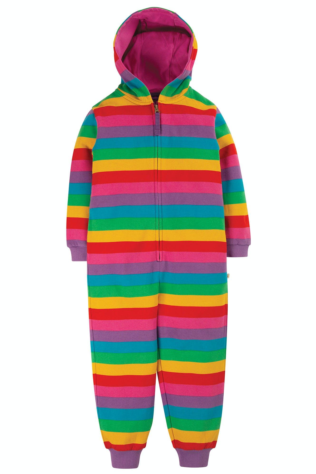 SALE £30.40 Frugi Big Snuggle Suit-Foxglove Rainbow Stripe (Was £38)