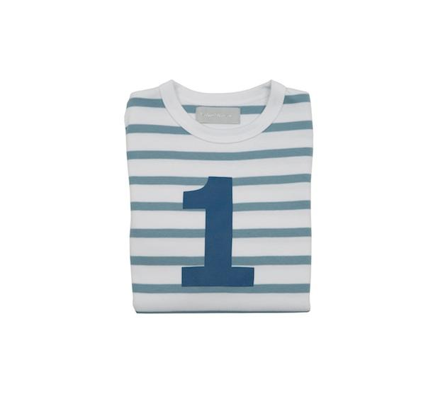 Bob & Blossom - Blue & White Striped Number T-shirt
