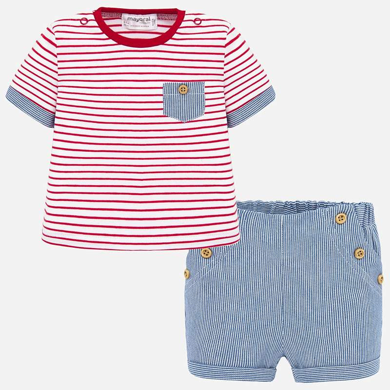 Mayoral T-Shirt & Shorts Set Red/White Stripe (1260)