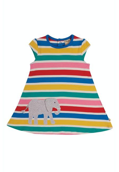Frugi Gianna Dress-Rainbow Multistripe/Elephant