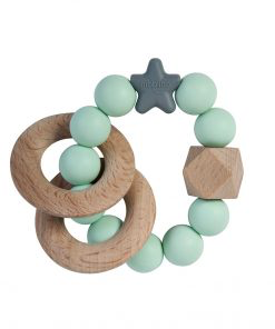 Nibbling Stella wood natural rattle ring
