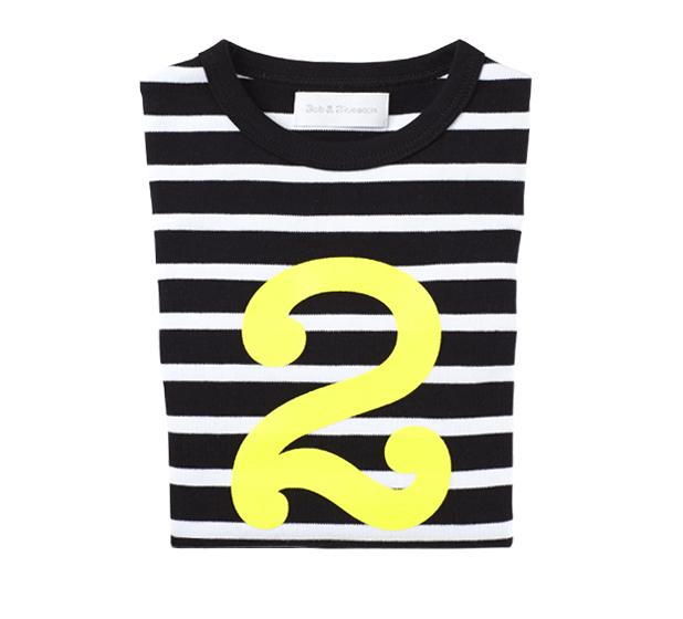 Bob & Blossom - Black & White Striped Number T-shirt