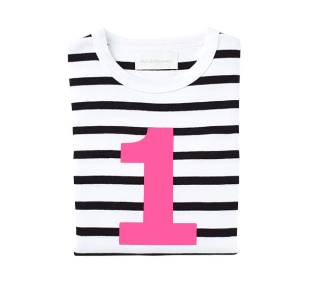 Bob & Blossom - White & Black Striped Number T-shirt
