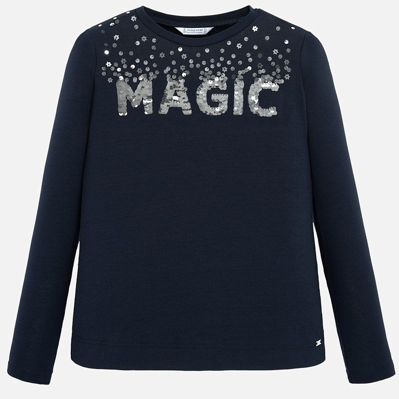 WAS £21.00 Mayoral 'Magic' Sequin Top Navy (7011)