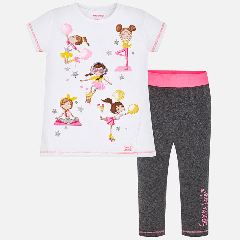Mayoral T-Shirt & Legging Set Pink & Grey (3724)