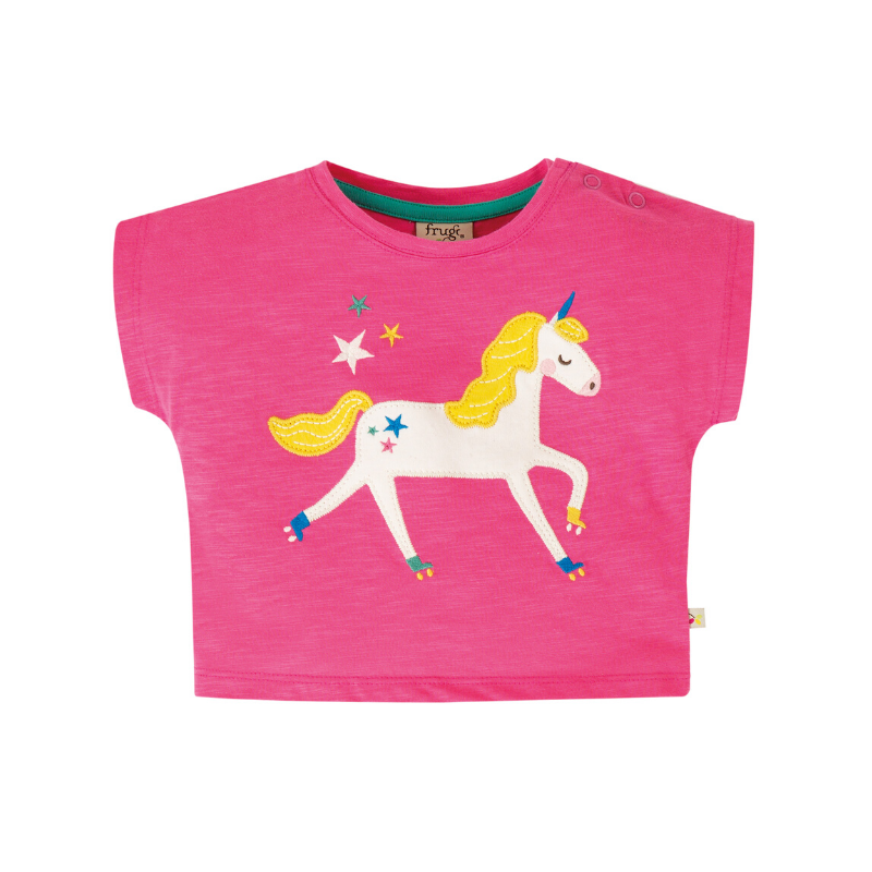 NOW £13.80 Frugi Sophia Slub T-Shirt - Flamingo/Unicorn