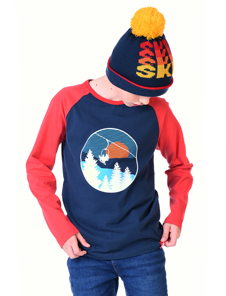 St Bert's Ski Lift L/S T-Shirt- Dress Blue/ Blaze Red