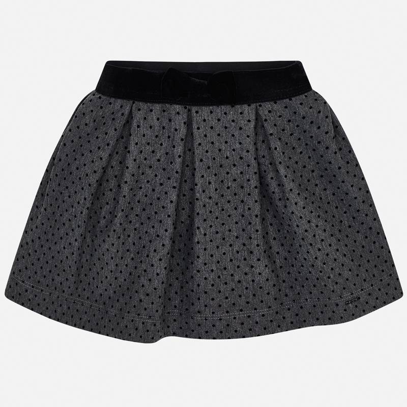 NOW £14 Mayoral Flocked Spot Skirt Grey (4907) (Was £28)