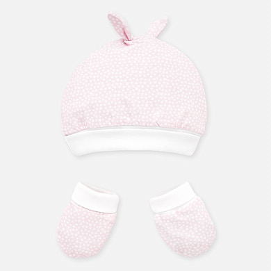 Mayoral Hat & Mittens Set Baby Pink (9677)