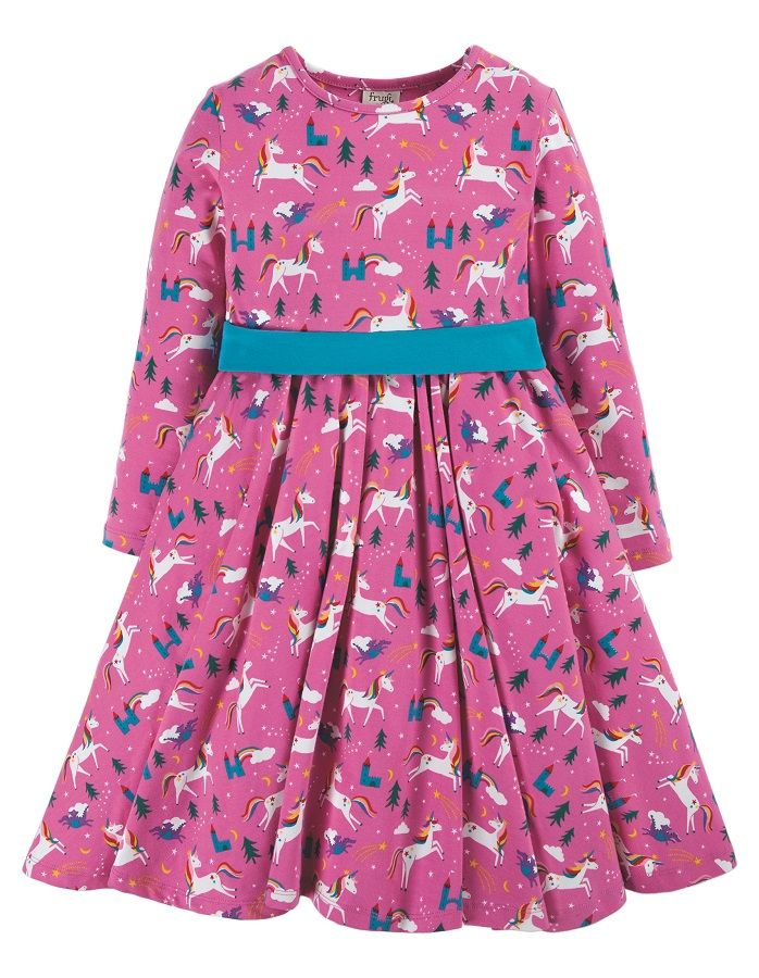 SALE £26.40 Frugi Party Skater Dress-Unicorn (Was £33)