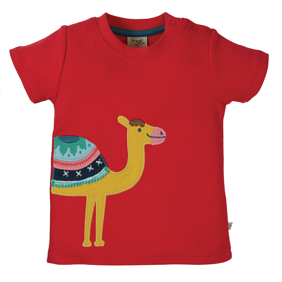 Frugi Little Creature Applique Top-True Red/Camel