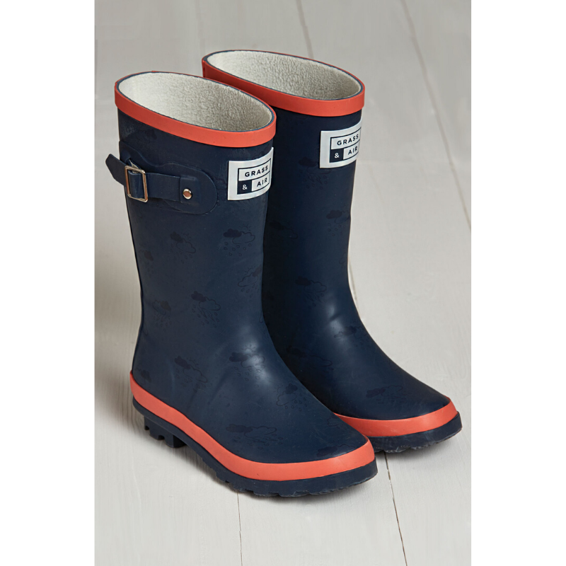 Grass & Air Junior Wellies - Coral/Navy